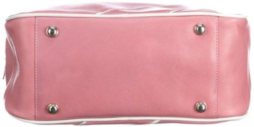 Swedish Hasbeens Vintage Sport Bag 107, Borsa a spalla unisex adulto, 30 x 25 x 11 cm (L x A x P) Rosa (Pink (Bubble Gum Pink And White))