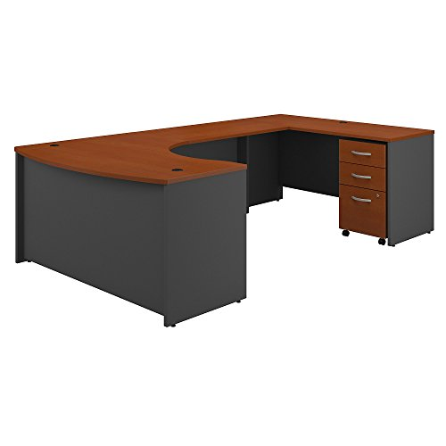 Bush Business Furniture Series C 60W Right Handed Bow Front U Shaped Desk with Mobile File Cabinet in Auburn Maple