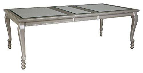 Ashley Furniture Signature Design - Coralayne Dining Room ExtensionTable - Glamorous Metallic Silver Frame (Leg Extension Table Rectangular)