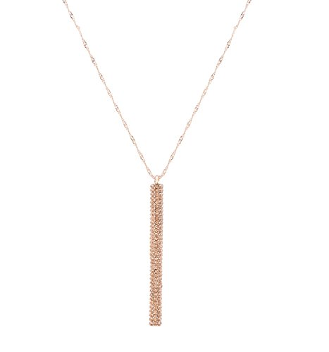 ELEARD Bar Pendant Necklace Crystal Bar Drop Chain Necklace Lever Drop Pedant for Women (rose gold crystal)