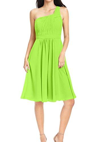 Schulter Grün Ballkleid Abendkleid Ruecken aermellos A Chiffon Partykleid Sweetheart Kurz Festkleid ein Ivydressing mit Linie Falte Schnuerung waFqnI