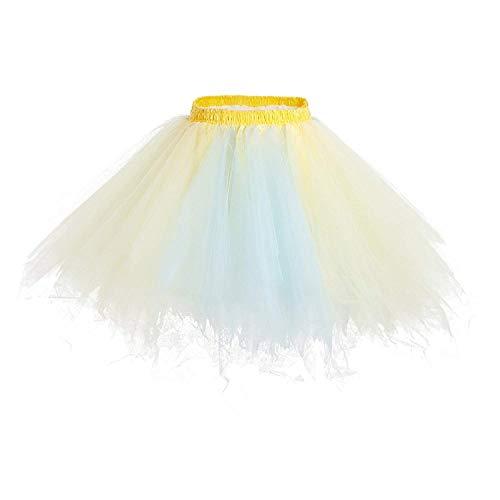 (Big Girls Tutu Skirts Layered Tulle Princess Dresses Sparkle Halloween Tutu Blue/Yellow)