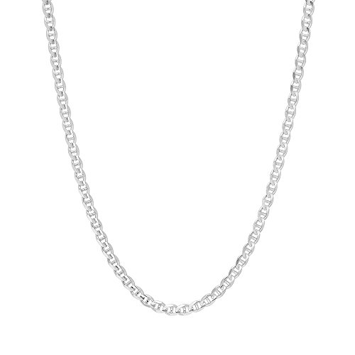 - 4mm .925 Sterling Silver flat Mariner Link Anchor Chain Necklace (20