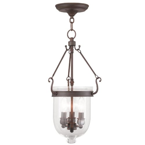Livex Lighting 5063-58 Jefferson 3-Light Hanging Lantern, Imperial Bronze