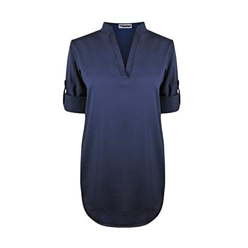 6cedf67bf327f0 chic Yidarton Womens Summer Casual Loose Shirt Sexy Chiffon Tops V-Neck  Long Sleeve Blouse