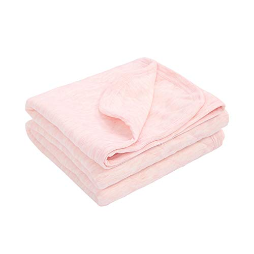 TILLYOU Allergy-Free Quilted Cotton Baby Blanket Lightweight Warm Toddler Bed/Crib Blanket for Boys and Girls 39x47 Large, Super Soft and Breathable Daycare Nursery Blanket, Heather Pink