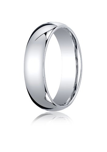 Mens 10K White Gold, 6mm Slightly Domed Standard Comfort-Fit Ring (sz 13) ()