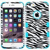- Asmyna Tuff Hybrid Phone Protector Cover for iPhone 6 Plus - Retail Packaging - Zebra Skin/Tropical Teal