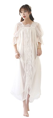 Soojun Women's Sexy Long Nighty Sheer Vintage Victorian Nightgown, White