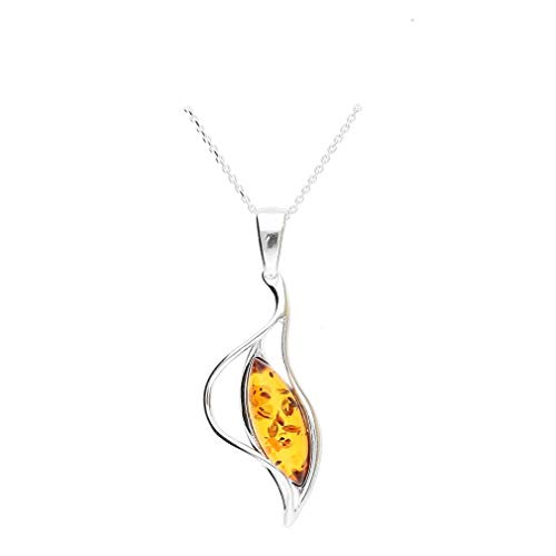 Cognac Baltic Amber Gemstone Sterling Silver 925 Jewelry Pendant, KAB-385