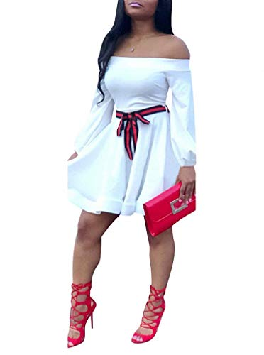 (Ophestin Women Off The Shoulder Long Sleeve Bow Tie Stripe Belted Fit and Flare A-Line Skater Mini Short Dress White L)