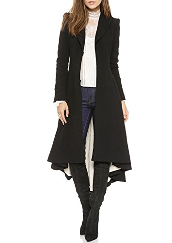 RICHKOKO Women Asymmetrical High Low V Neck Ruffle Button Long Coat(M,Black)
