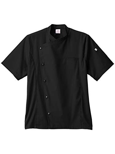 (Five Star Chef Apparel 18987 Men's Moisture Wicking Side Panel Snap Front Chef Coat Black XL)