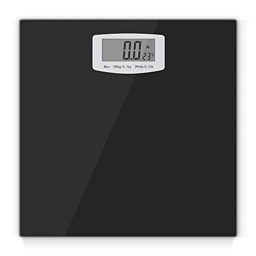 Digital Bathroom Scale, Body Weight Scales Fitness Tracker with High Precision Weighing Sensors and Temperature Measurement, Capacity 396 pounds ()