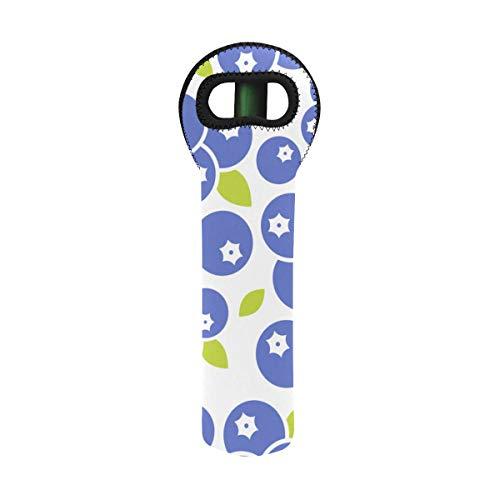 - Water Bottle Bag Blueberries Pattern Use Wallpaper Bottle Protect Tote Custom 4.35 X 15.35 Inch Neoprene Large Bottle Bag