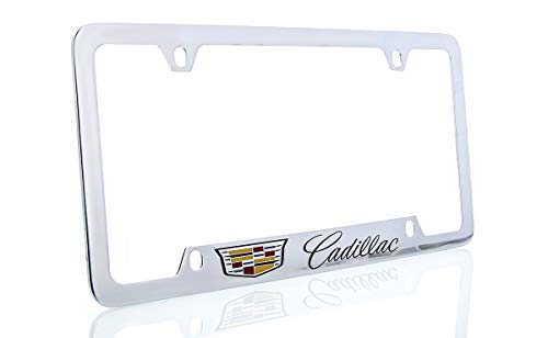 (Cadillac with Crest Brass License Plate Frame with Chrome Finish (4 Hole))