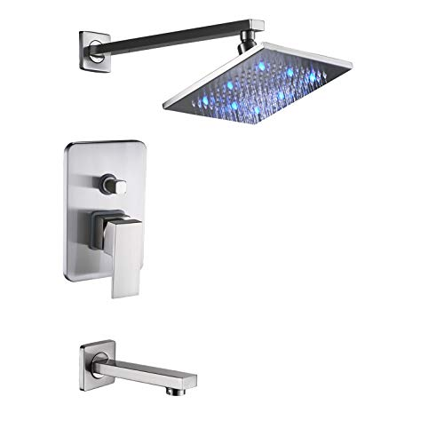 Rozin Bath LED light 8-inch Top Rainfall Shower Set with Tub Spout Tap Brushed Nickel ()