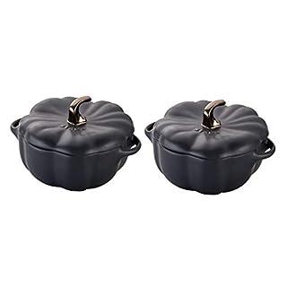 STAUB Ceramics Petite Pumpkin Cocotte, 16-oz, Matte Black