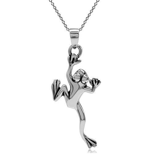 (925 Sterling Silver Climbing Frog Pendant w/ 18 Inch Chain Necklace )