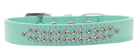 Mirage Pet Products Two Row AB Crystal Aqua Dog Collar, Size 20 by Mirage Pet Products