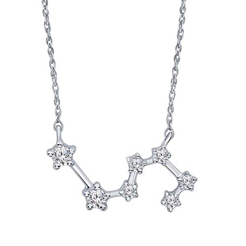 Triss Jewelry 1/5 Cttw Diamond Leo Zodiac Sign Pendant Necklace For Women in Sterling Silver