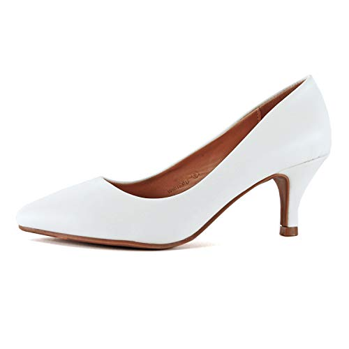 Guilty Heart | Womens Classic Pointy Toe Low Kitten Heel | Office Dress Slip On Fashion Pump | 22 Colors (7 M US, White Pu)