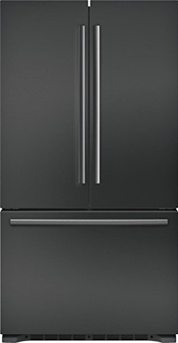 Bosch B21CT80SNB 800 Series 36 Inch Counter Depth French Door Refrigerator with 20.7 cu. ft. Total Capacity, in Black Stainless Steel