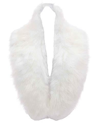 (Changuan Extra Large Women's Faux Fur Collar Shawl Wraps Stole Cloak Evening Cape for Winter Coat White)