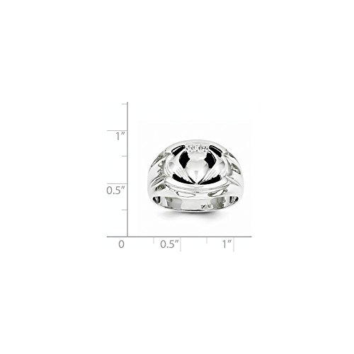 14k White Gold H-I SI2 Diamond men's Claddagh Ring