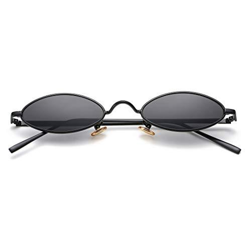- Vintage Small Oval Sunglasses for Women Men Hippie Cool Metal Frame Sun Glasses (Black Frame/Black Lens)
