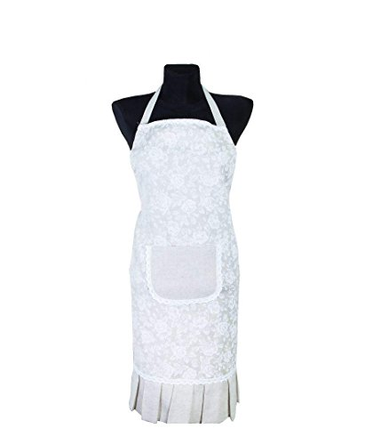 Provence Cotton Apron with Front Pocket in French Country Style - Cotton Lace - White Rose ()
