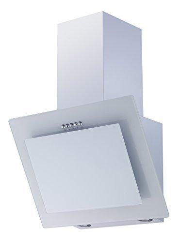respekta kopffreie Schräghaube Dunstabzugshaube Abzugshaube Wandhaube Glas 60 cm weiß / 3 Leistungstufen / Abluft und Umluft / LED [Energieklasse B] CH 21060 WA