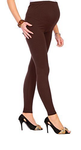 FUTURO FASHION Umstandsmode Leggings voller Knöchel sehr warme dicke schwere Baumwolle Leggings sehr bequem alle Größen CIAZA-P28-BRWN-L