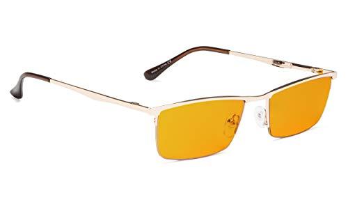 (Half-Rim Blue Light Blocker Glasses for Sleep-Nighttime Gold )