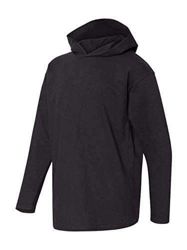 (Anvil Youth Long-Sleeve Hooded T-Shirt, Black, Large)
