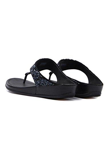 Fitflop Banda Roxy Cristal Sandales Toe-Post - Noir, Noir, 39