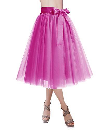 DRESSTELLS Knee Length Tulle Skirt Tutu Skirt Evening Party Gown Prom Formal Skirts Fuschia S-M ()