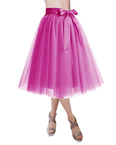 Skirt Fuschia Womens - DRESSTELLS Knee Length Tulle Skirt Tutu Skirt Evening Party Gown Prom Formal Skirts Fuschia L-XL