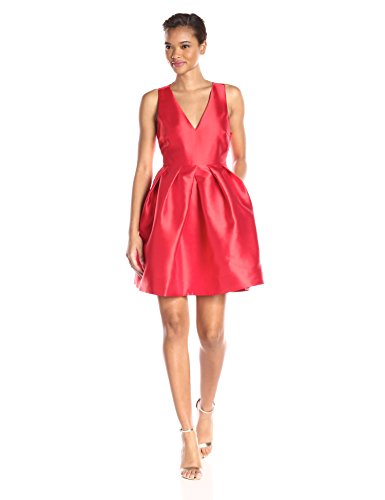 Erin Erin Fetherston Women's Silk Fit and Flare Devon Dress, Vermillion, 12 - Erin Fetherston Silk