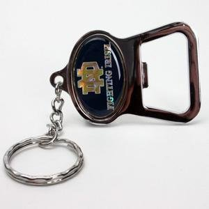 notre dame fighting irish metal key chain and bottle opener w domed insert blue. Black Bedroom Furniture Sets. Home Design Ideas