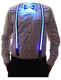 2 Pcs/Set, Good Quality Light Up LED Suspenders And Bow Tie, Perfect For Music Festival Halloween Costume Party -