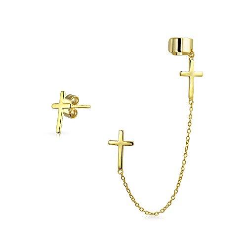 (Cartilage Cross Ear Lobe Earring Chain Ear Cuff Clip Wrap Stud Helix Earring Set 14K Gold Plated 925 Sterling Silver)