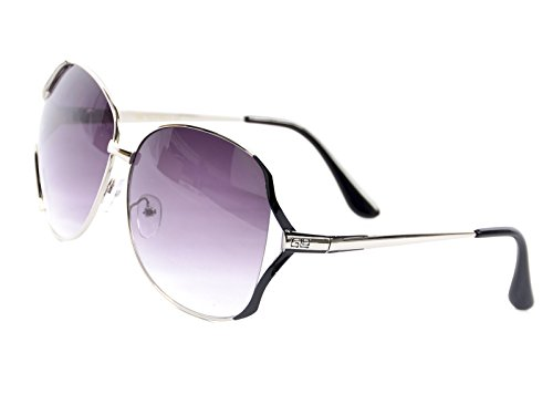 Frame Gradient Lens (Goson Women's Gradient Silver Black Frame/Purple Lens Gradient Oversize 65 mm Sunglasses)