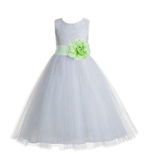 - ekidsbridal Floral Lace Heart Cutout White Flower Girl Dresses Apple Green First Communion Dress Baptism Dresses 172T 12
