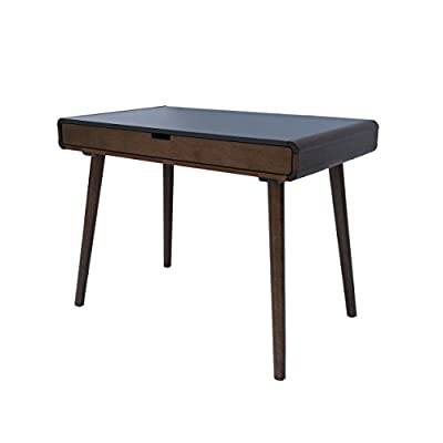 Great Deal Furniture 304646 Rex | Mid Century Wood Writing Desk | in Charcoal Grey/Medium Brown, - This mid Century desk is the perfect addition to any home office or student's room, this wooden desk features a large drawer in the center of the desk, ideal for storing anything from writing tools to chargers, large enough to fit a computer and papers, This desk is sure to be everything you are looking to add to your home office Includes: one (1) desk Material: rubberwood with a faux wood overlay | Leg Material: rubberwood | Finish: Charcoal grey | Leg Finish: medium brown - writing-desks, living-room-furniture, living-room - 31xSD8k0XVL. SS400  -