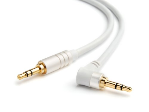 BlueRigger Angled 3.5mm Male to Male Stereo Audio Cable – 6 Feet (White) – Supports iPhone, iPod, iP