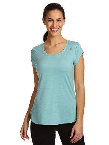 Reebok Women's Legend Performance Top Short Sleeve T-Shirt - Tibetan Stone Heather, - Dri Fit Legend