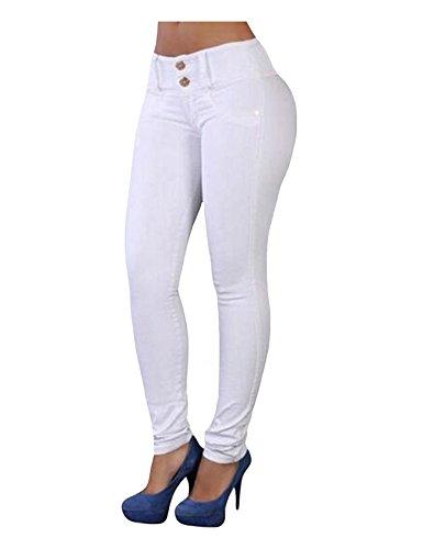 Jueshanzj Femme Pantalon moulant taille haute lastique crayon jeans Blanc