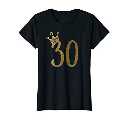 Womens Gold 30th Birthday Shirt Birthday Girl Shirt