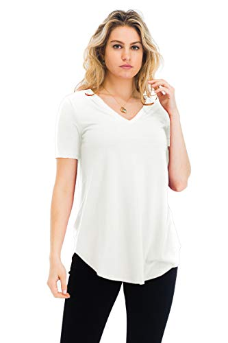 Relaxed Fit Premium Short Sleeve V-Neck Round Hem Top Shirts Ivory M